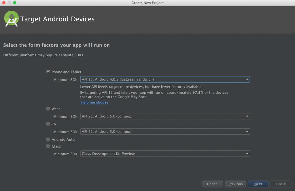 Select target device and minimum API level